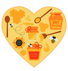 concept heart set of honey vector image vector image