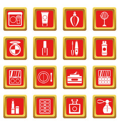 cosmetics icons set red vector image