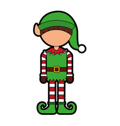 Cute little christmas boy elf vector