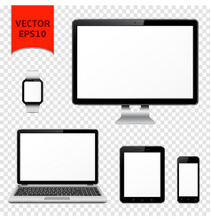 Desktop computer laptop tablet pc mobile phone vector
