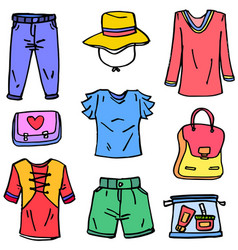 Doodle of clothes style women theme vector