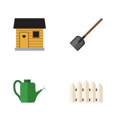 Flat icon garden set of wooden barrier shovel vector