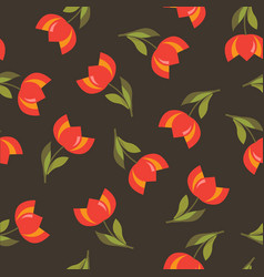 floral seamless pattern with tulips vector image vector image