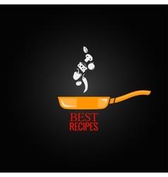 Frying pan design menu background vector