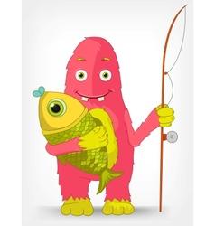 Funny Monster Fisherman vector image