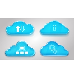 Glass clouds with icons of cloud services vector image