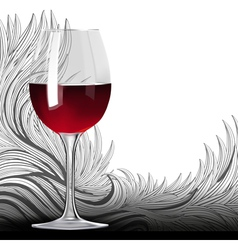 Glass of red wine on the floral backgound vector image vector image