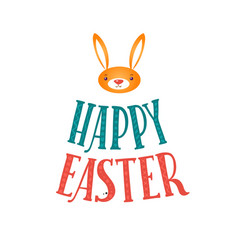 Happy easter greeting card lettering and bunny vector