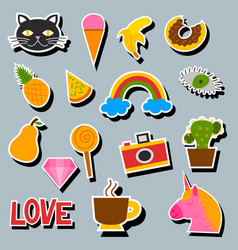 hipster patches elements like lips ok sign and vector image