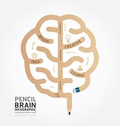 Infographics pencil brain design diagram vector