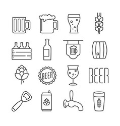 Linear beer icons vector