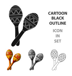 Mexican maracas icon in cartoon style isolated on vector