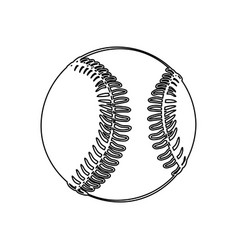 monochrome contour of baseball ball vector image vector image