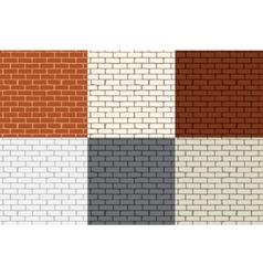 Set of 6 colored brick wall Seamless vector image vector image