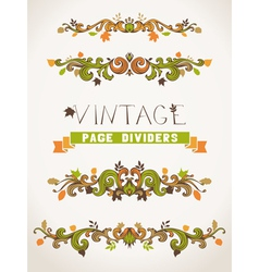 Set of vintage design elements with leaves vector image
