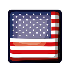 Shield in square shape with flag united states of vector