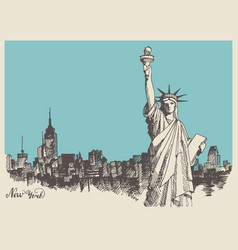 sketch of the statue of liberty and the panorama vector image vector image