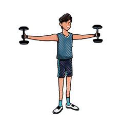 Sport man dumbbells exercise fitness draw vector