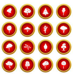 Trees icon red circle set vector