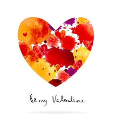 Watercolor colorful blot and heart vector image