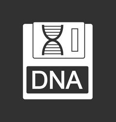 White icon on black background dna disk vector