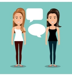 women talking dialogue isolated vector image