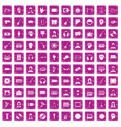 100 audience icons set grunge pink vector