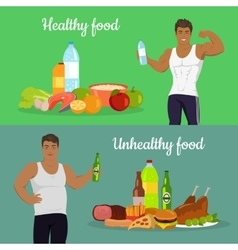 Healthy and unhealthy food weight loss vector
