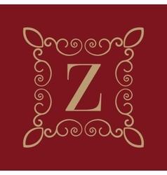 Monogram letter z calligraphic ornament gold vector