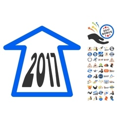 2017 ahead arrow icon with 2017 year bonus vector