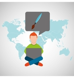 online training education-student painting vector image