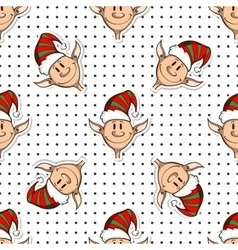 Seamless pattern funny elves vector