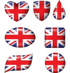 British flag in various shape glossy button vector