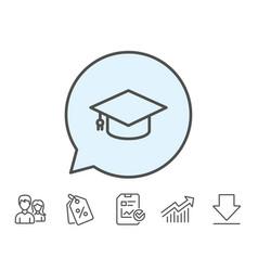 Graduation cap line icon education sign vector