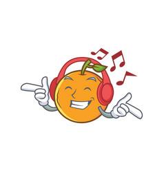Listening orange fruit cartoon character vector