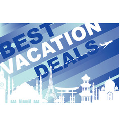 banner for traveling with architectural landmarks vector image