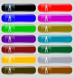 Pliers icon sign set from fourteen multi-colored vector