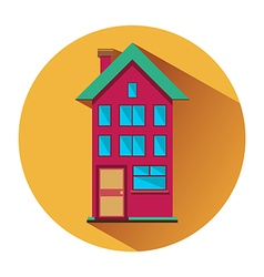 House with three floors flat icon vector