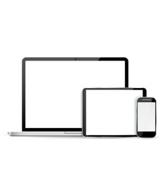 Set laptop tablet and mobile phone vector image