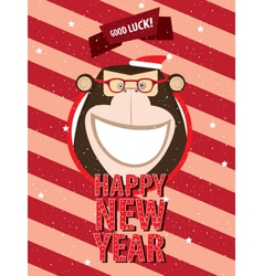 Happy new year with monkey in festive frame vector