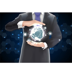 Businessman with connections globe vector