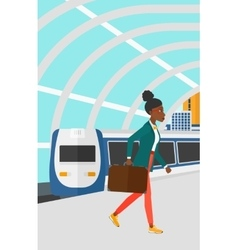 Woman going out of train vector
