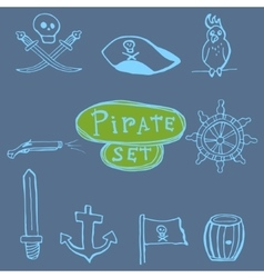Sketch pirates set Hand drawn vector image