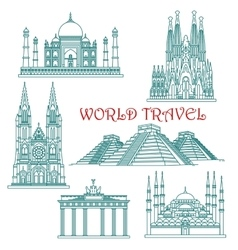 World travel landmarks thin line icons vector