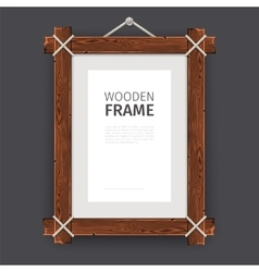 Old wooden rectangle frame vector