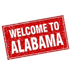 Alabama red square grunge welcome to stamp vector