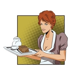 The waitress with a tray delivers breakfast vector
