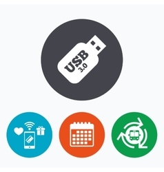 Usb 30 stick sign icon usb flash drive button vector