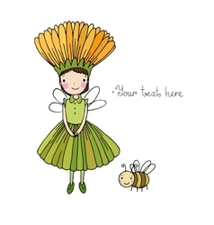 Cute little fairy and bumblebee vector image