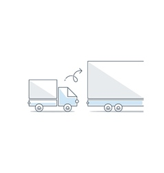 Bigger and smaller truck difference concept vector